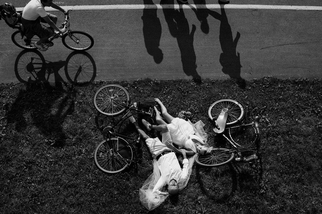 Sesja ślubna z rowerami