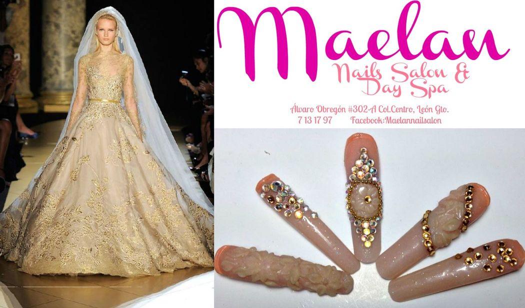 Uñas con diseño exclusivo para novia encaje