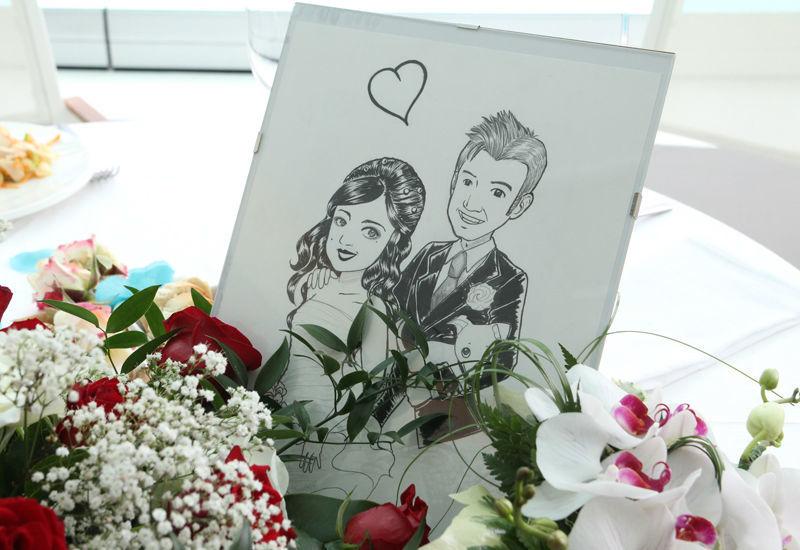 Caricatura di coppia sposi Deluxe