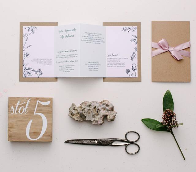 Zaproszenia ślubne Eko Botaniczne - połączenie zaproszeń Botanicznych, Rowerowe Love i Wiśniowych - delikatne eko zaproszenia w formie harmonijki.