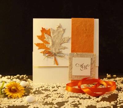 Partecipazione matrimonio autunno arancio foglia www.stampaecrea.it