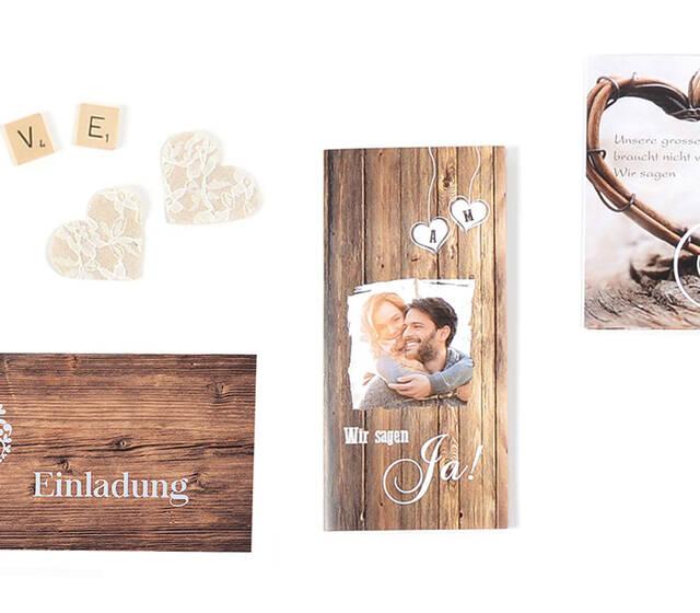 Hochzeitskarten im rustikalen Stil.  - Grosse Auswahl an Vorlagen - Aussergewöhnliche Formate - einfach online gestalten