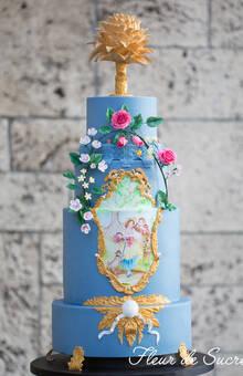 Rokoko inspirierte Torte mit handgemalten Bild