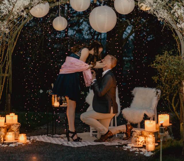 Huwelijksaanzoek in het park