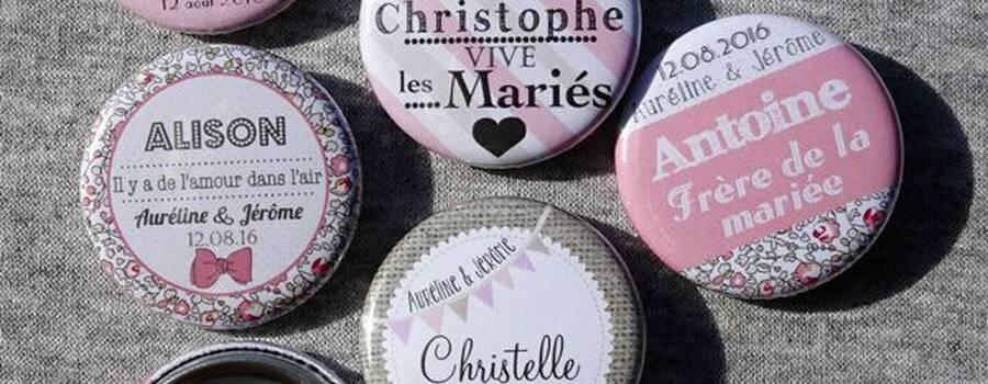 Choucailloubijoux - Badges Personnalisés {Aurélie & Jérôme} Rose tendre & Liberty