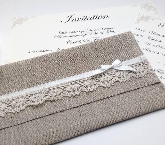 """Faire part Enveloppe lin """"Collection douceur"""" - Envie d'A"""