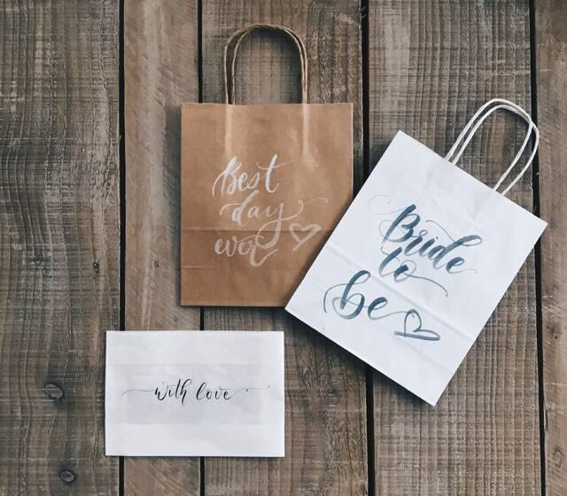 Bespoke Fine Art Wedding Calligraphy - gift bags