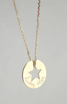 Collar Diana estrella cadena 42cm, baño de oro