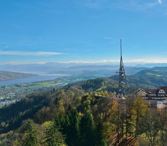 Aussicht auf den Zürichsee und die Alpenkette
