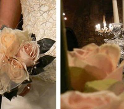Beispiel: Cremefarbener Brautstrauß und Tischdekoration, Foto: Hadrigan Blumen Ambiente.