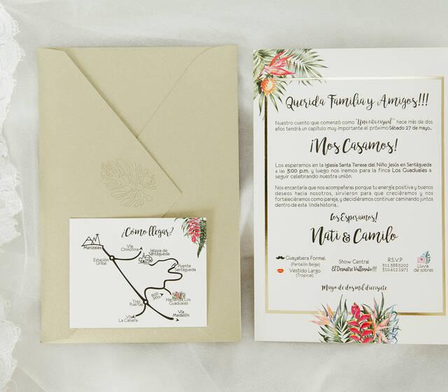 Invitaciones con detalles en foil
