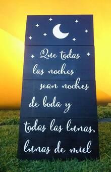 """LETRERO DE BIENVENIDA PARA BODA  LETRERO ESTILO VINTAGE PARA RECEPCIÓN DE BODA  """"Que todas las noches sean noches de boda y todas las lunas, lunas de miel"""" (Diseños Personalizados)"""