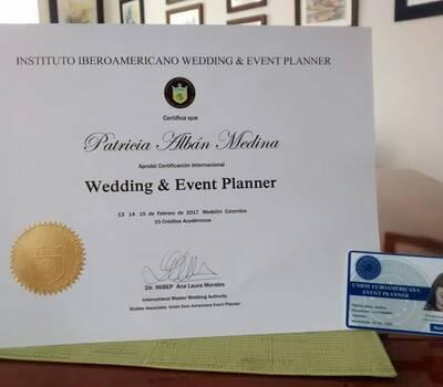 Certificación internacional de Wedding & Event Planner. Registro  No: 3385  UNION EUROAMERICANA EVENT PLANNER