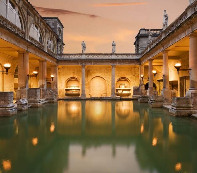 Great Bath torchlit