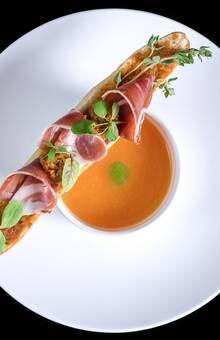 Gaspacho de melon et tartine bellota