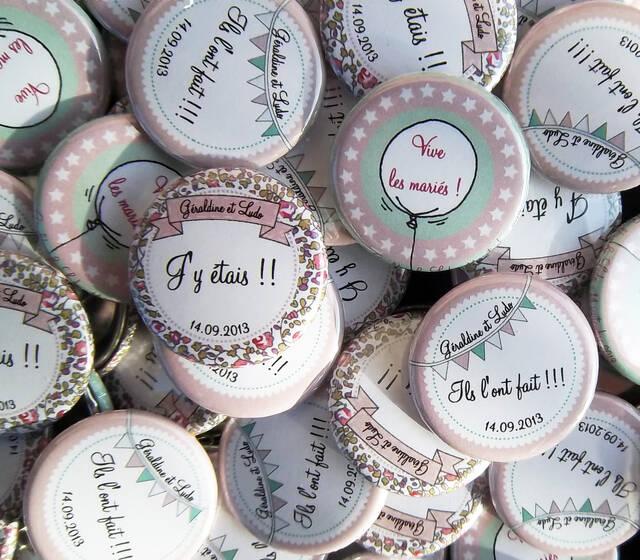 Choucailloubijoux - Badges Personnalisés {Géraldine & Ludo} Rétro-Menthe à l'eau