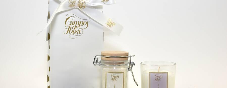 Pack bolsa kraft con tarro de sales jazmin y vela de lavanda
