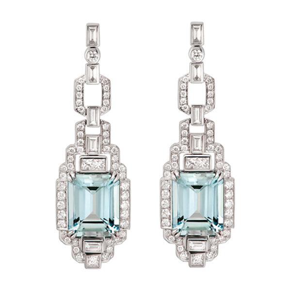 ART DECO, Pendientes Art Decó Edición Limitada con aguamarina talla esmeralda y diamantes blancos de Suárez.