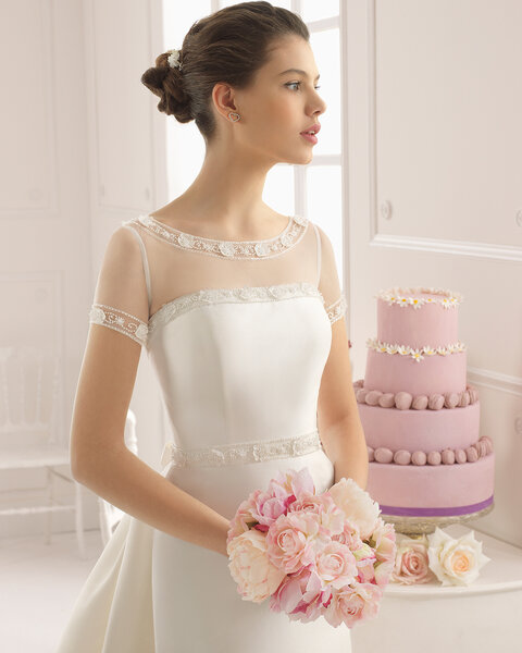 Strapless and illusion neckline with tulle and jewel details