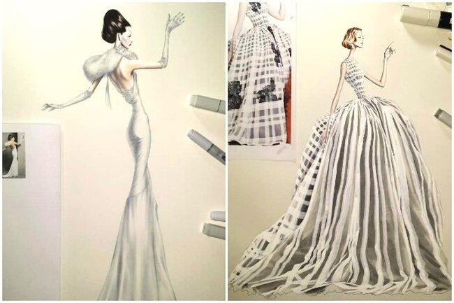 Desenhos do ilustrador Arturo Elena, noivas com glamour e extravagância