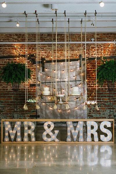 Decorazioni di matrimonio in stile industrial