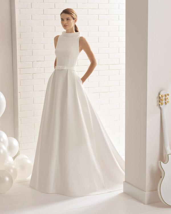 vestidos de novia elegantes con cuello – mini vestidos