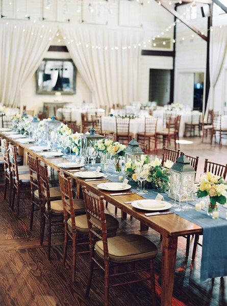 Blue table decor.
