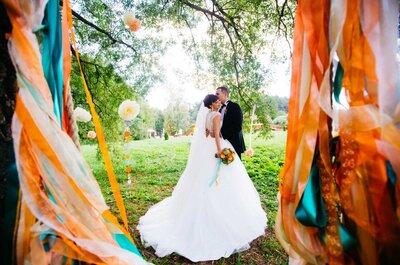 Бирюзово-оранжевая свадьба Екатерины и Сергея