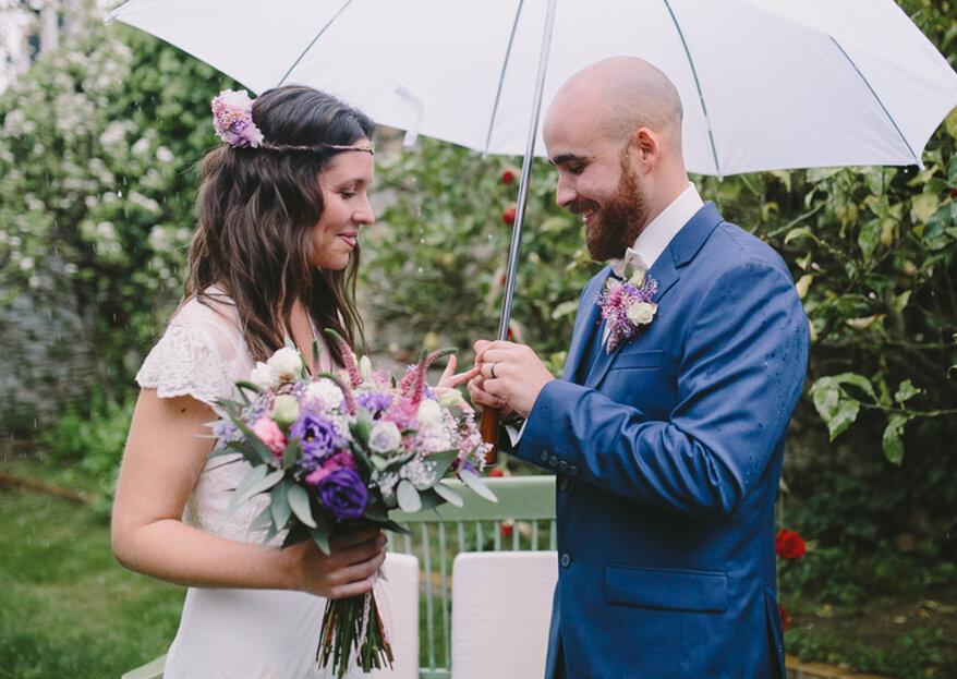 Cómo sobrevivir a una boda lluviosa: 6 maneras de hacer que sea inolvidable
