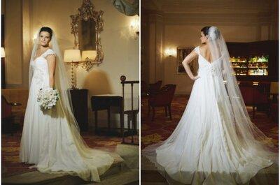 Vestido de noiva com cauda e sem cauda para a festa: técnica de embutimento de Carol Hungria