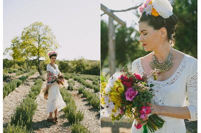 Color y deleite: Look de novia inspirado en Frida Kahlo