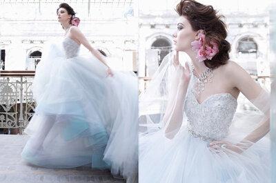Mira la moda para los vestidos de novia 2013 en color azul pastel