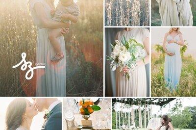 Inspiración perfecta para una novia embarazada y chic