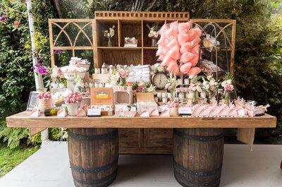 Las mesas de dulces y botanas que ¡querrás tener en tu boda!