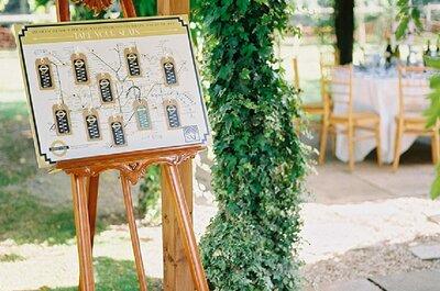 Una boda retro en color esmeralda y dorado