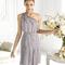 Vestido corto en color plata con incrustaciones de piedras para damas de boda