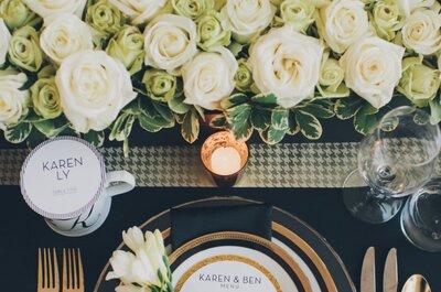 Real Wedding: Una boda ultra fashionista con acentos dorados y estampado pata de gallo