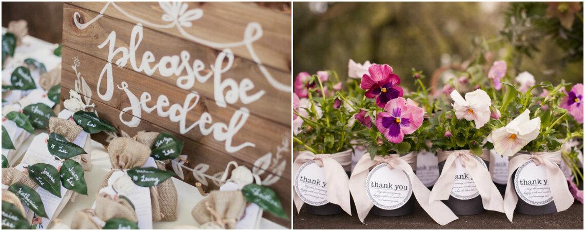 Recuerdos de flores y plantas para tu boda. ¡A todos les encantarán!