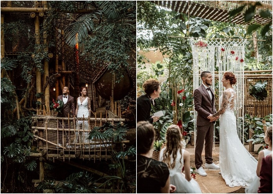 Jungle styled shoot with a touch of gold