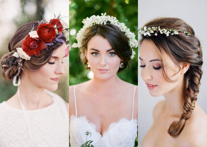 Bruidskapsels met echte bloemen: verse bloemen in je haar op de grote dag!