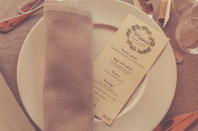 11 creativas ideas para presentar la carta del menú. ¡Impresiona a los invitados a tu matrimonio!