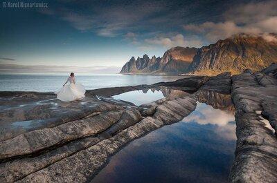 Przez 45 dni fotografował swoją Żonę w sukni ślubnej w najpiękniejszych miejscach Norwegii i Szwecji! Obłędne kadry!