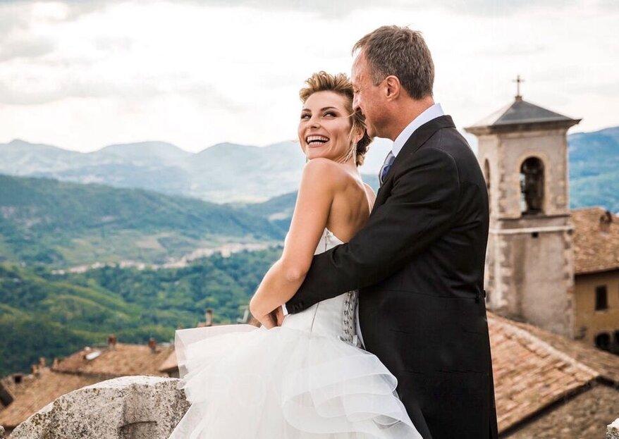 A sky-high wedding among the wonders of the Baronial Castle of Collalto Sabino