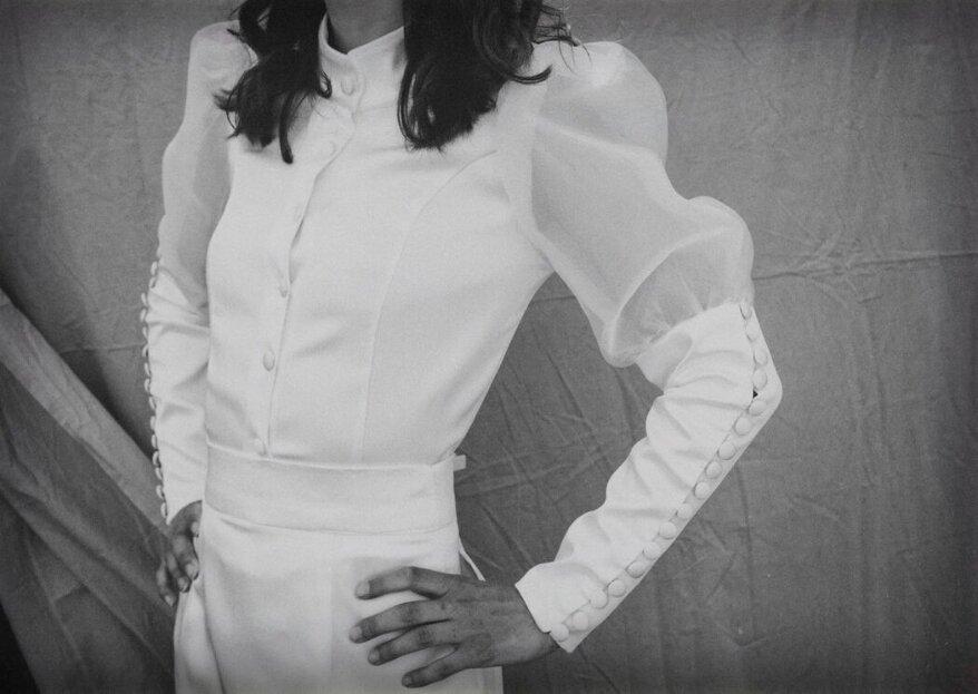 BIANCAD'OTTOBRE realizzerà per voi un abito unico e all'avanguardia, componibile, sostenibile e riutilizzabile