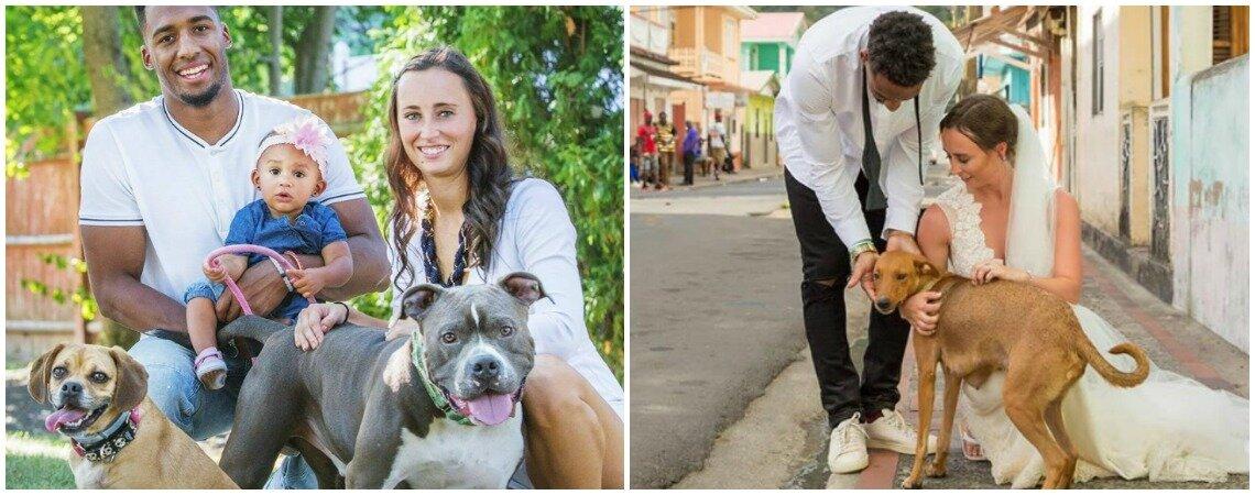 Este jogador da NFL utilizou o seu casamento para ajudar cães abandonados