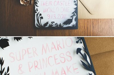 Noivos descolados em um casamento inspirado no jogo de vídeo game Mario Bros