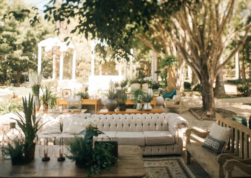 Os segredos de um lounge de casamento convidativo, confortável e elegante