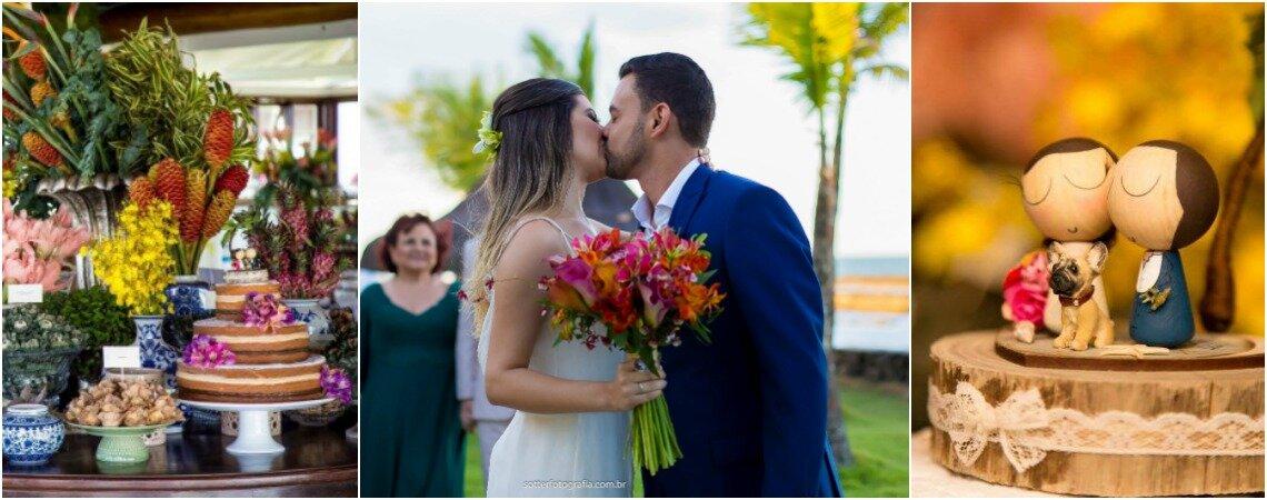 """O destination wedding tropical de Mariana & Matheus: o """"sim"""" sob o pôr do sol de Arraial d'Ajuda!"""