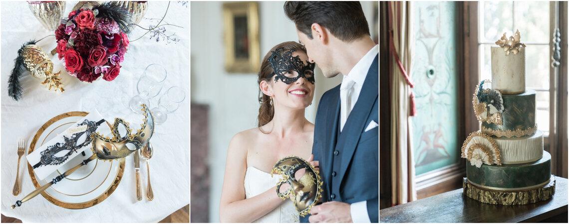 Hochzeitsinspirationen mit einem Hauch von Venedig - Wenn der Brautstrauss von einer Maske abgelöst wird