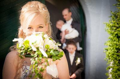 Increíbles ramos de novia en blanco y verde
